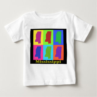 Colorful Mississippi State Pop Art Map Baby T-Shirt