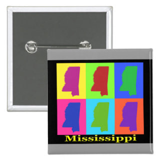 Colorful Mississippi State Pop Art Map Buttons