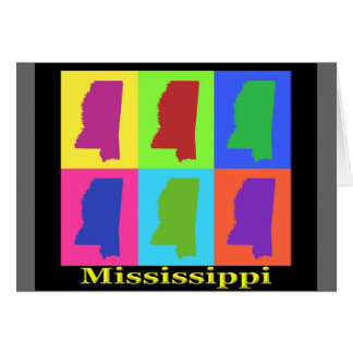 Colorful Mississippi State Pop Art Map Card