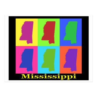Colorful Mississippi State Pop Art Map Postcard