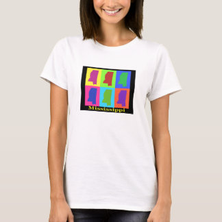 Colorful Mississippi State Pop Art Map T-Shirt