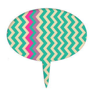 Colorful Mixed Bordered Zigzags Cake Topper