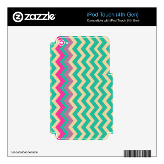 Colorful Mixed Bordered Zigzags Decals For iPod Touch 4G