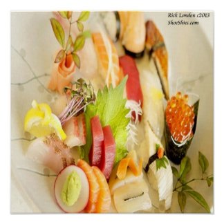 Colorful Mixed Gourmet Sushi Plate Poster