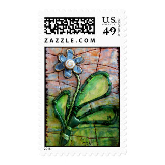 Colorful mixed media flower postage stamp