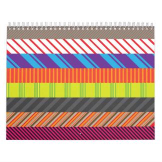 Colorful Mixed Stripes Rainbow Strip Print Calendar