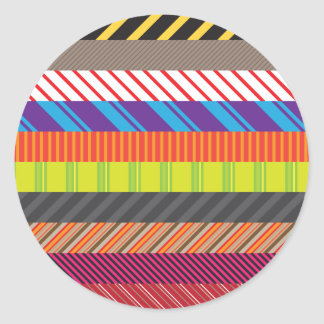 Colorful Mixed Stripes Rainbow Strip Print Classic Round Sticker