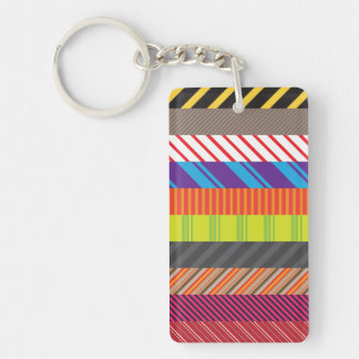 Colorful Mixed Stripes Rainbow Strip Print Keychain