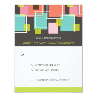 Colorful Mod Color Fun Retro Cubes Wedding RSVP Card