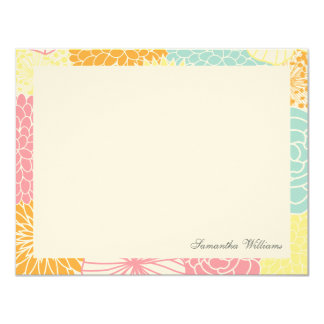 Colorful Mod Floral Custom Flat Thank You Notes Personalized Invite