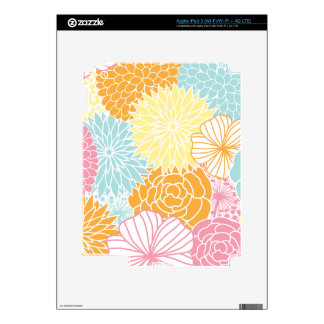 Colorful Mod Florals iPad 3 Decal