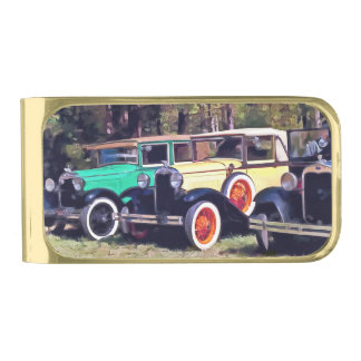 Colorful Model A's Gold Finish Money Clip