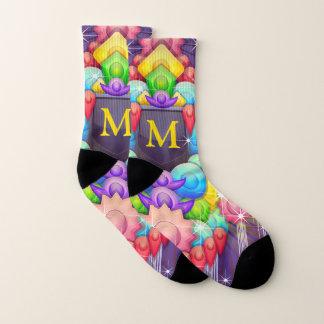 Colorful Modern Abstract Custom Monogram Socks
