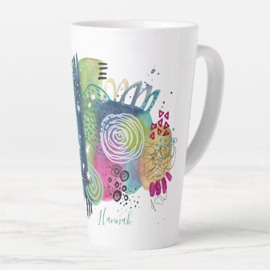 Colorful Modern Abstract Original Art Fun Add Name Latte Mug