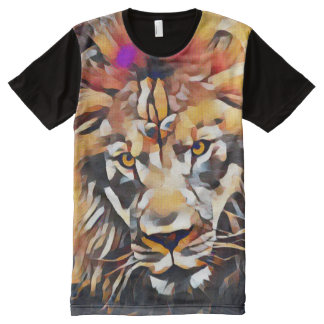 Colorful Modern African Lion Head Cubism Paint All-Over-Print T-Shirt