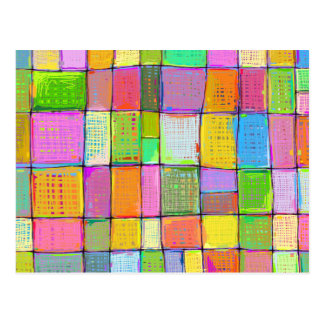 Colorful modern art quilt painting bright colors postcard
