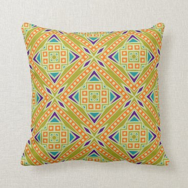 Aztec Themed Colorful Modern Aztec Tribal Geometric Pattern Throw Pillow