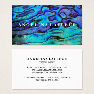 Colorful modern blue abalone sea shell plain white business card