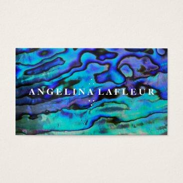 busied Colorful modern blue abalone sea shell plain white business card