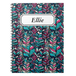 Colorful modern Boho feather seamless pattern Notebook