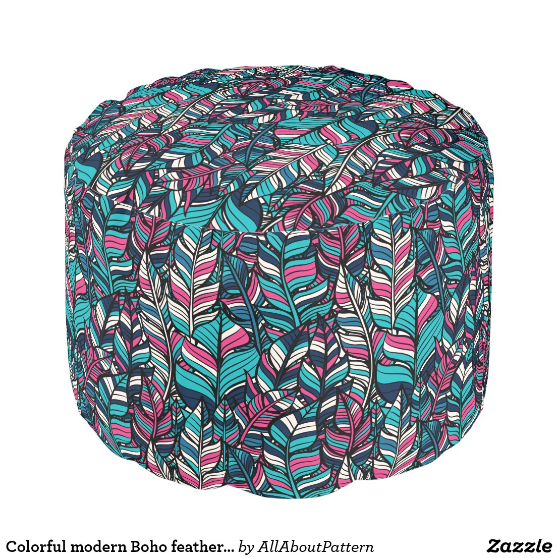 Colorful modern Boho feather seamless pattern Pouf