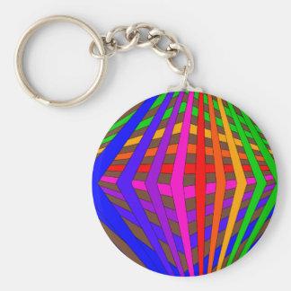 Colorful Modern Bold Spectrum Geometric Fun 1 Keychain