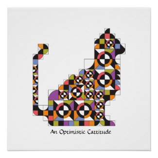 Colorful Modern Cat Quilt Pattern Poster