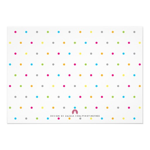 Colorful Modern Clean Neutral Baby Sprinkle Invite Announcements (back side)