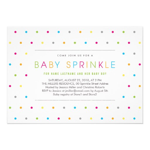 Colorful Modern Clean Neutral Baby Sprinkle Invite Announcements (front side)