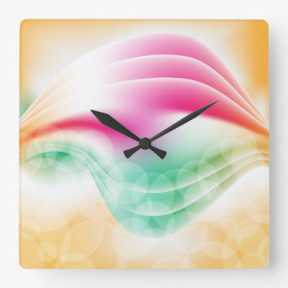 Colorful modern design with abstract shapes square wall clock