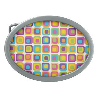 Colorful Modern Dots and Squares Pattern Gifts Oval Belt Buckle