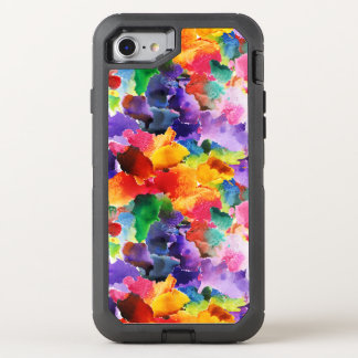 colorful modern floral abstract art OtterBox defender iPhone 7 case