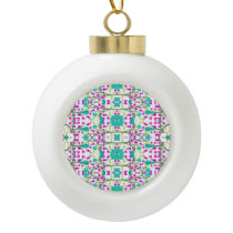Colorful Modern Floral Baroque Pattern Ceramic Ball Christmas Ornament