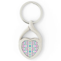 Colorful Modern Floral Baroque Pattern Keychain