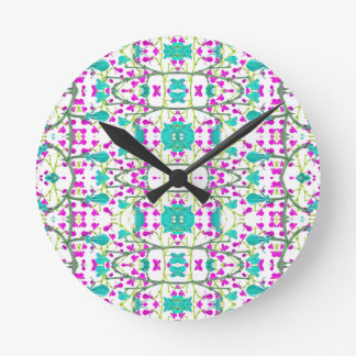 Colorful Modern Floral Baroque Pattern Round Clock