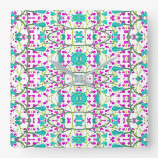 Colorful Modern Floral Baroque Pattern Square Wall Clock