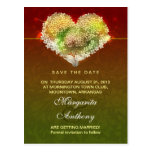 colorful modern floral heart save the date postcar post card