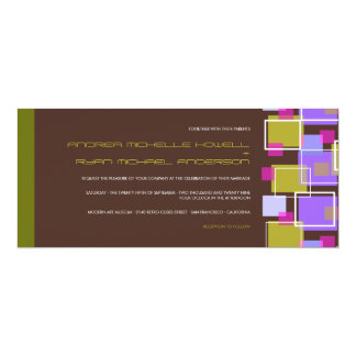 Colorful Modern Geometric Fun Retro Cubes Wedding 4x9.25 Paper Invitation Card