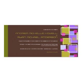 Colorful Modern Geometric Fun Retro Cubes Wedding Card