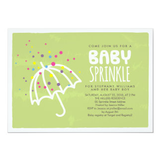 Colorful Modern Green Baby Sprinkle Invitation