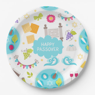 Colorful Modern Happy Passover Paper Plate