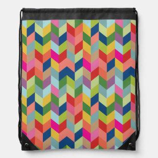 Colorful Modern Herringbone Drawstring Backpack