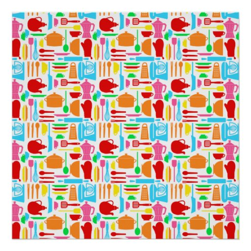 Colorful Modern Kitchenware Poster
