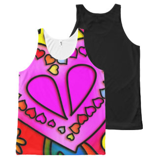 colorful modern love All-Over print tank top