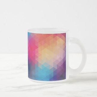 Colorful Modern Mosaic Geometric Pattern 10 Oz Frosted Glass Coffee Mug