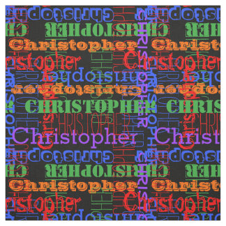 Colorful Modern Name Collage Rainbow Black Fabric