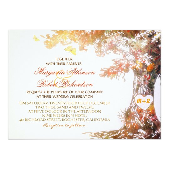 Tree Wedding Invitations: Colorful Modern Oak Tree Wedding Invitations