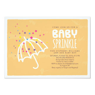 Colorful Modern Orange Baby Sprinkle Invitation