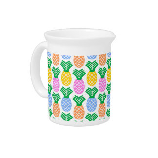 Colorful Modern Pineapple Pattern Beverage Pitcher