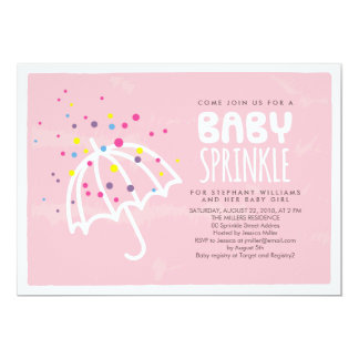 Colorful Modern Pink Baby Girl Sprinkle Invitation
